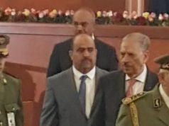 Ahmed Gaid Salah accompagner de le président du Senat,président de l'APN et l' ancien premier ministre de l'intérieur , à l'investiture du président A.Tebboune le 19-12-2019 au palais de la Nation à Alger